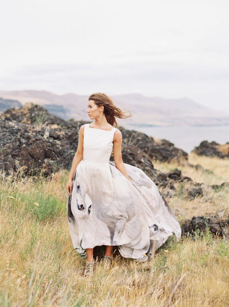 Couture wedding dress with painted horses by Gilles Deacon