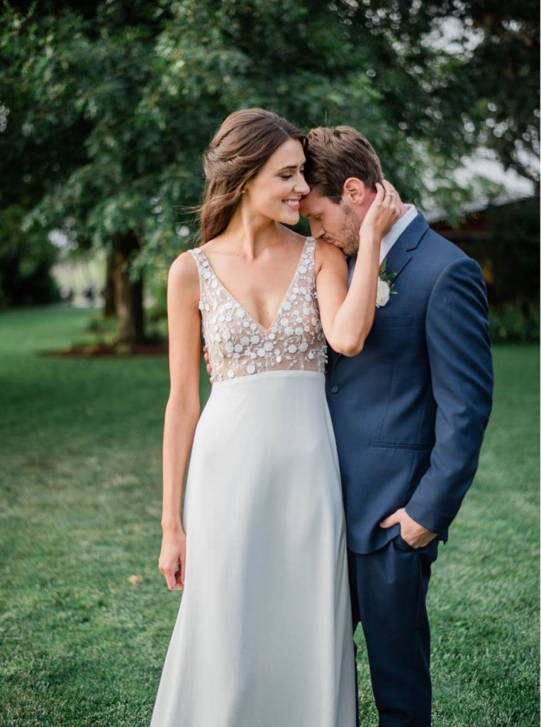bride wearing a and be portland dress shot by Georgia Ruth Photography