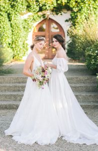 two brides model wedding accessories and dresses in commercial shoot